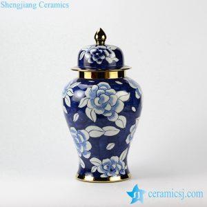 RYKB142 Golden rim and tip blue and white camellia pattern hotel decor porcelain jar