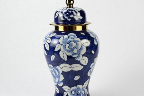 RYKB142 Golden rim and tip blue and white camellia pattern hotel decor porcelain jar