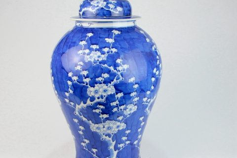 RYLU159 Round shoulder blue background white cherry blossom ceramic jar