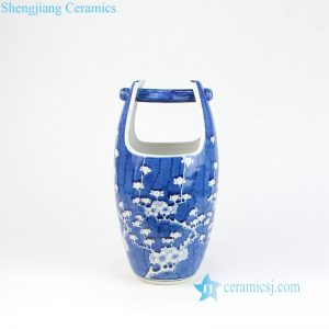 RYLU160 Blue background cherry blossom pattern porcelain basket vase