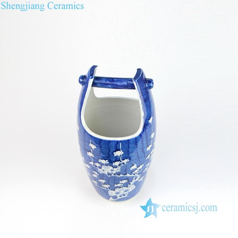 blue ceramic basket vase