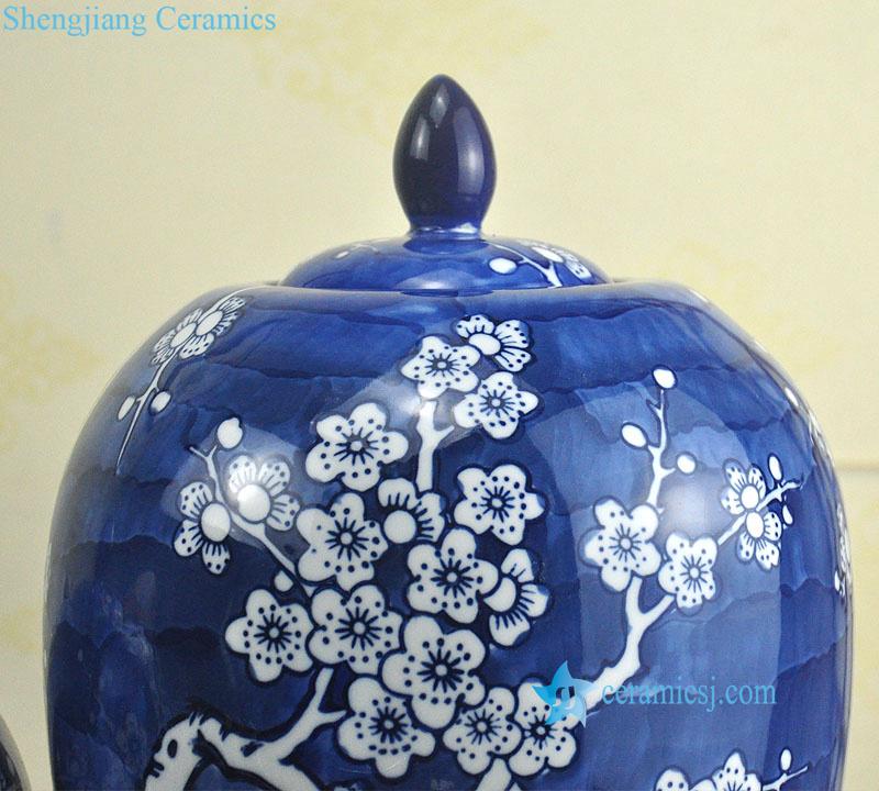blue background floral ceramic jar