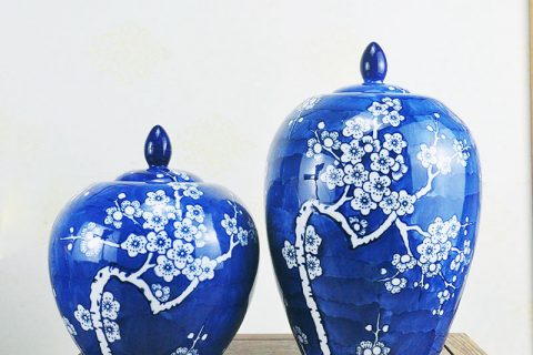 RYPU52 Winter sweet blue background ceramic pair jar for wedding