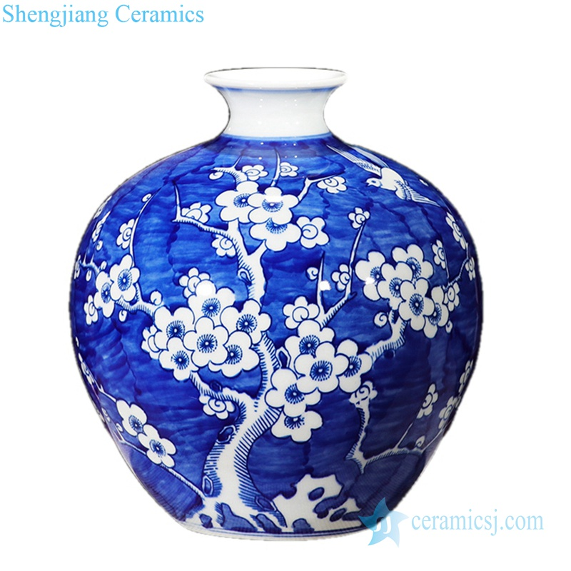 round body plum blossom pattern ceramic vase in Jingdezhen