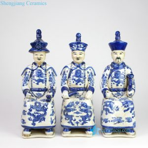 RYXZ18 Three sitting emperors blue and white ceramic statues