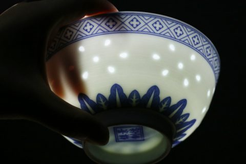 The Rice Hole Pattern Ceramic with Blue and White Painting