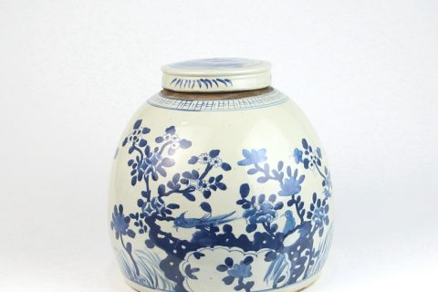RZEY03-C-RZFZ Antique reproduction hand painted blue bird floral porcelain vase with lid