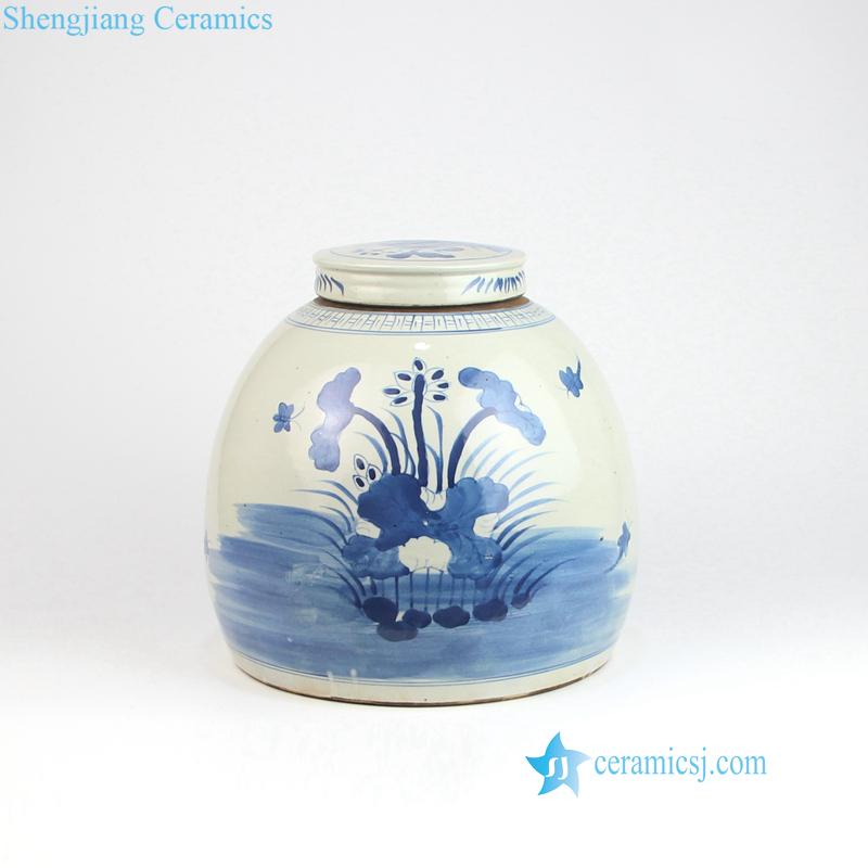 bird floral porcelain jar