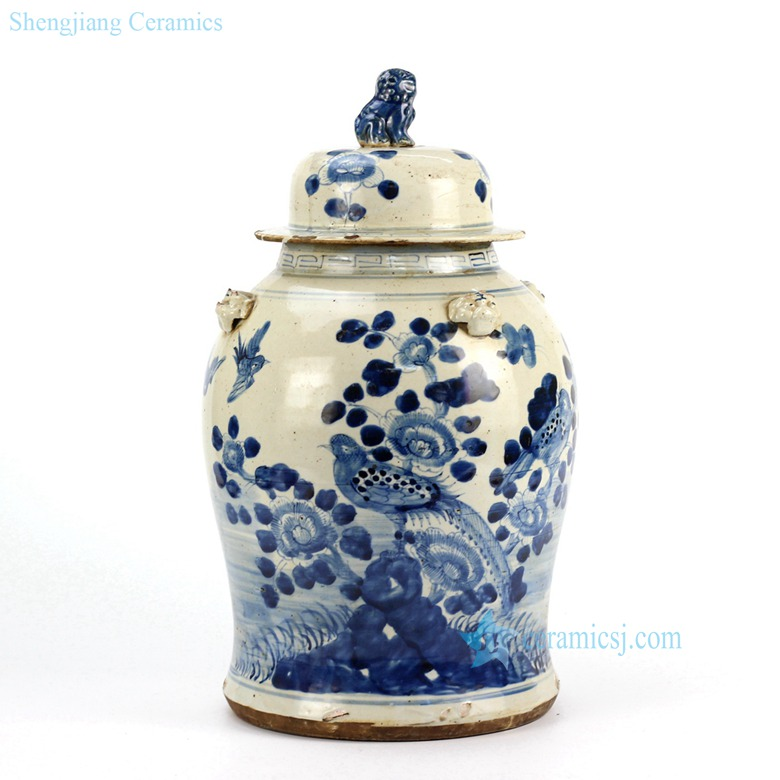bird floral ceramic jar in blue