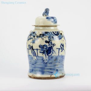 RZEY12-C Yellow body blue kylin bring kids to family porcelain jar