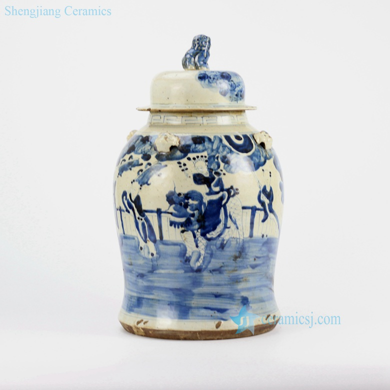 kylin bring kids to family porcelain jar