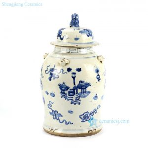 RZEY12-D Antique finish blue and white lion lid porcelain jar