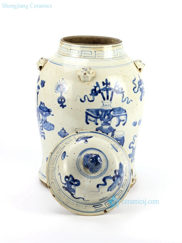 hand painted ceramic temple jar