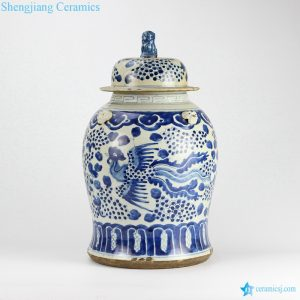 RZEY12-F Blue and yellow hand painted phoenix ceramic jar