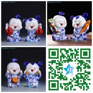 RZGB1567 Blue and white joyous ceramic kid figurine