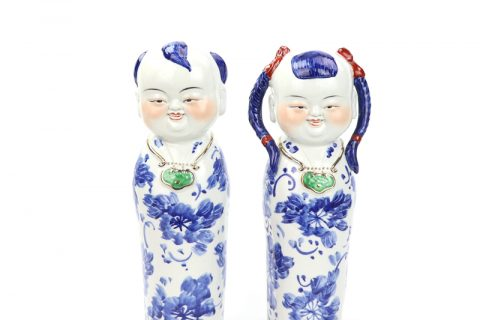 RZGB19 blue and white cute boy and girl porcelian figurine