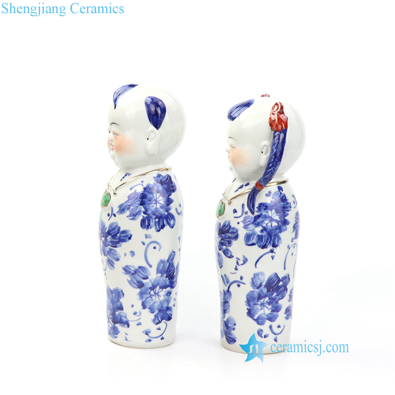 blue and white boy and girl porcelian figurine