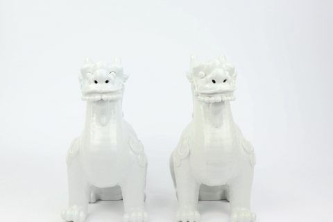 RZKC04-B Pure white ceramic dragon statues