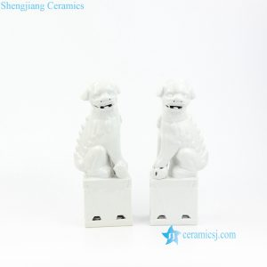 RZKC17-B White foo dog porcelain figurine
