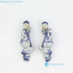 RZKC21 Qing Dynasty blue and white smoking laying men porcelain figurine