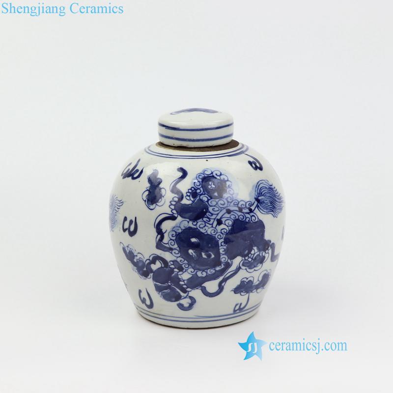 lion porcelain mini jar