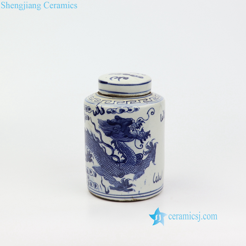 small dragon ceramic tin box