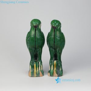 RZLN01 Jungle green ceramic parrot figurines