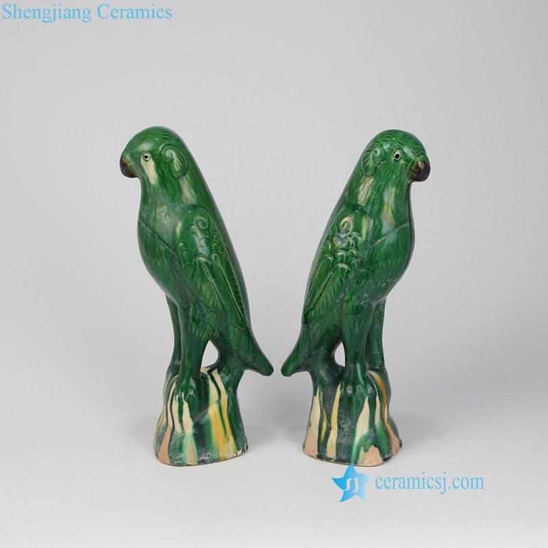 green ceramic parrot figurines