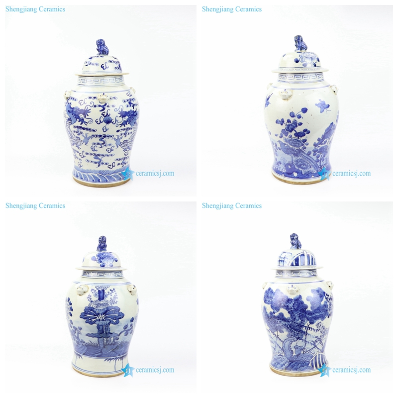 hand painted ceramic jar