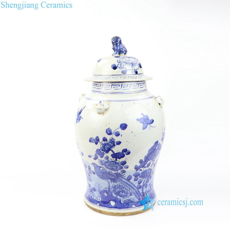 brid floral ceramic jar