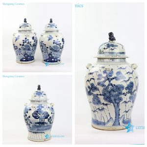 RZMV34-ABC Lion lid and knob pine bird flower pattern hand draw porcelain jar