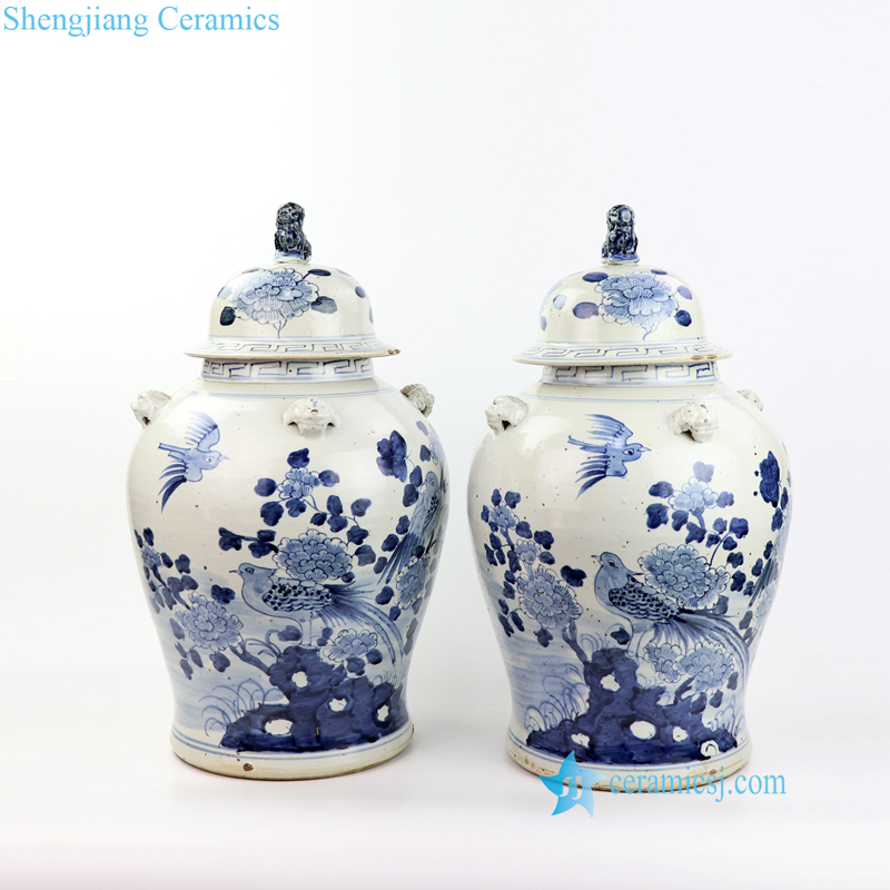 floral bird ceramic jar