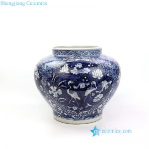 RZNI17 Dark blue color hand painted crane phoenix porcelain vase