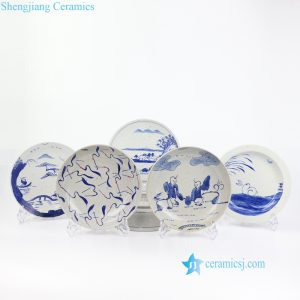 RZOQ01 China style crude clay material hand painted ceramic fruit plate