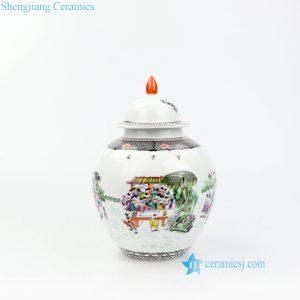 RZOR01 Round body design happy childhood porcelain jar