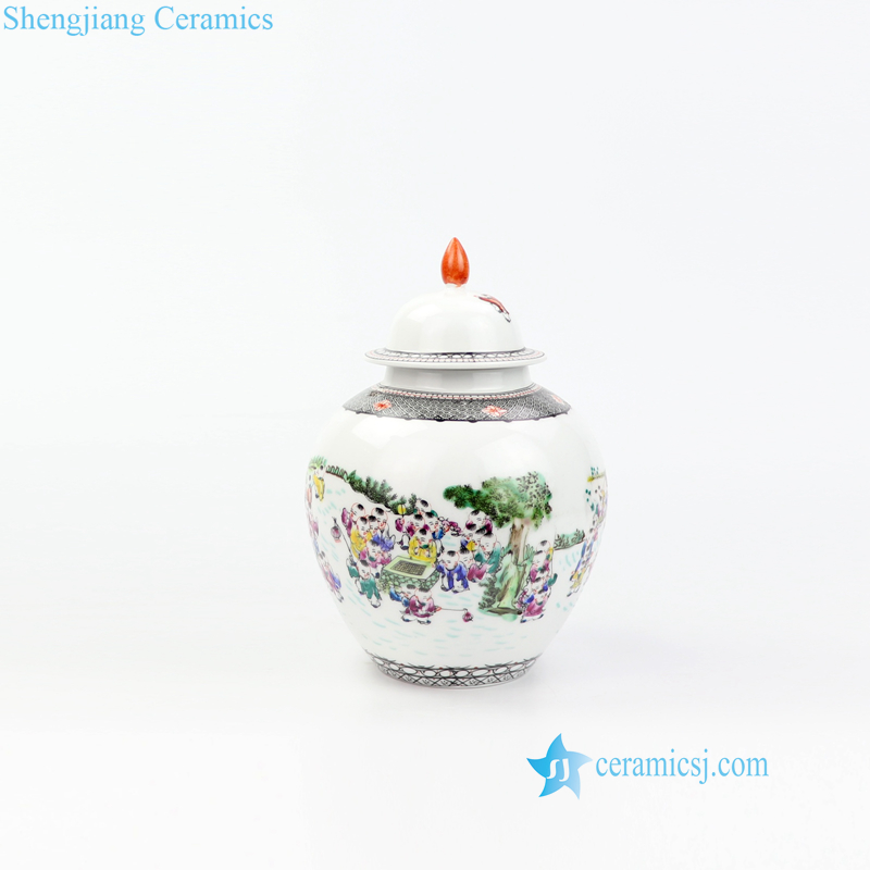 happy childhood porcelain jar