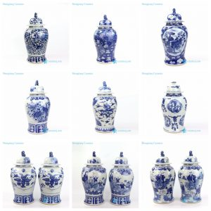 RZOT023-AH Jingdezhen China high skill painter hand painted blue ceramic temple jars
