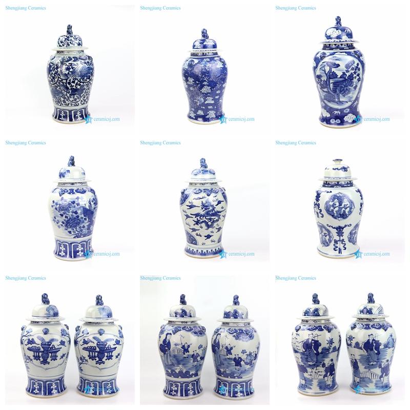 hand painted blue ceramic temple jar