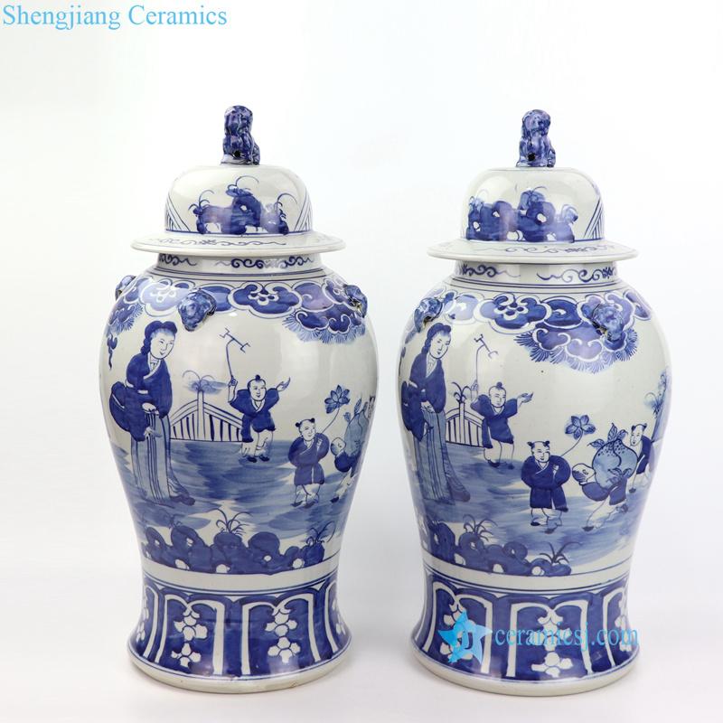 mother and kids ceramic jar