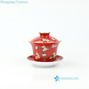 RZOU03 Hand craft needle painting red flower ceramic gaiwan