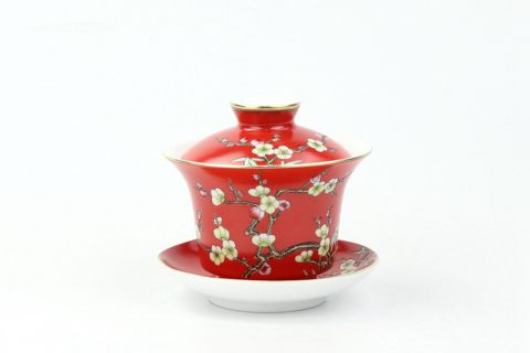 RZOU03 Hand craft needle painting red flower ceramic gaiwan