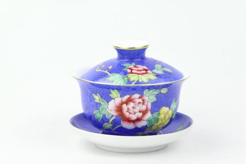 RZOU04 Gold rim hand needle painting peony pattern blue ceramic tea cup