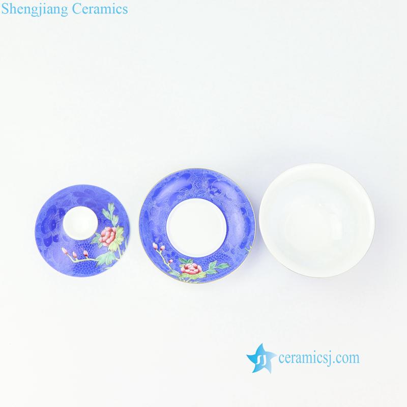 needle painting blue ceramic tea cup