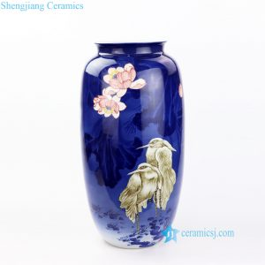 RZOV01 Jingdezhen artisan painted moon light lotus pond with birds porcelain large vase