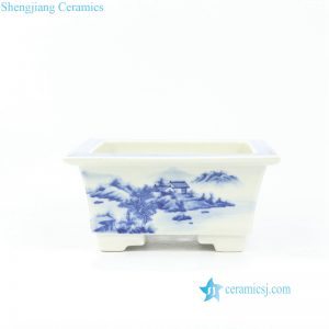 RZOW01 Square shallow hand painted China landscape ceramic planter