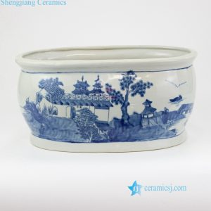 RYVM33 Blue and white Aisan ancient architecture orchid ceramic pot