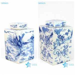 RYQQ10-C/D Shengjiang company handmade blue and white square porcelain jar