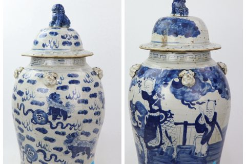 RZEY13-A/B China ancient style blue and white dragon and character pattern porcelain jar