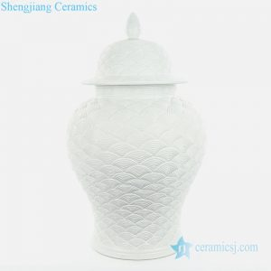 RYJF68 White sea wave scale carved ceramic jar