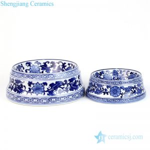 RYPU53 Blue and white floral ceramic pet food bowl